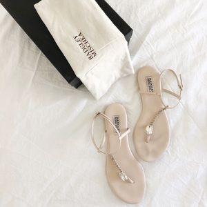 Badgley Mischka dusty rose pink flat sandals